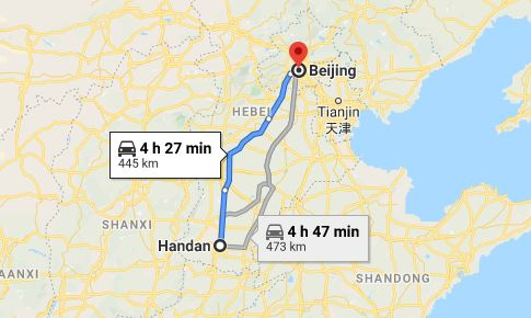 Route map from Handan to the Vietnamese Embassy in Beijing