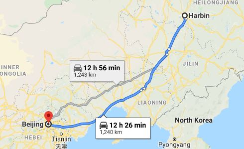 Route map from Harbin to the Vietnamese Embassy in Beijing