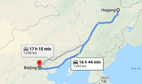 Route map from Hegang to the Vietnamese Embassy in Beijing