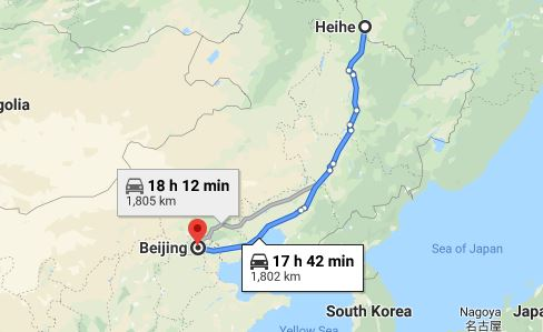 Route map from Heihe to the Vietnamese Embassy in Beijing