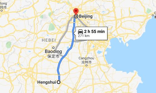 Route map from Hengshui to the Vietnamese Embassy in Beijing