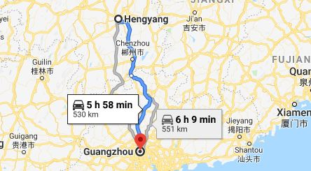 Route map from Hengyang to the Consulate of Vietnam in Guangzhou