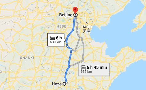 Route map from Heze to the Vietnamese Embassy in Beijing