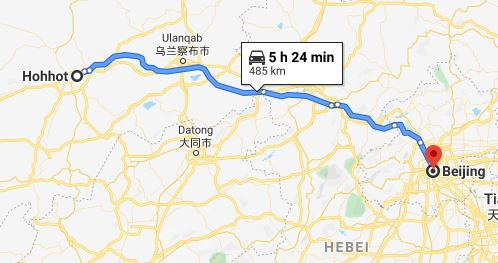 Route map from Hohhot to the Vietnamese Embassy in Beijing