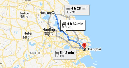 Route map from Huai'an to the Vietnamese Consulate in Shanghai