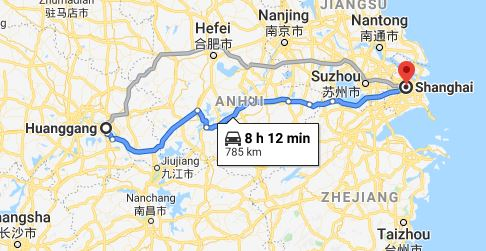 Route map from Huanggang to the Vietnamese Consulate in Shanghai