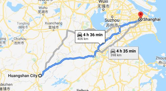Route map from Huangshan to the Vietnamese Consulate in Shanghai