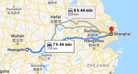 Route map from Huangshi to the Vietnamese Consulate in Shanghai
