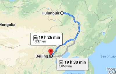 Route map from Hulunbuir to the Vietnamese Embassy in Beijing