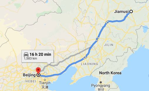 Route map from Jiamusi to the Vietnamese Embassy in Beijing