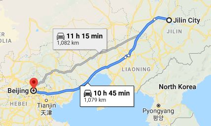 Route map from Jilin City to the Vietnamese Embassy in Beijing