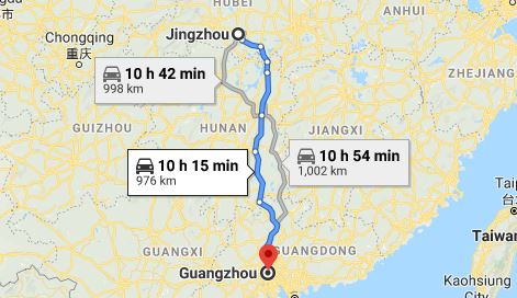 Route map from Jingzhouto the Consulate of Vietnam in Guangzhou