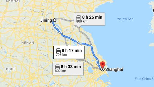 Route map from Jining to the Vietnamese Consulate in Shanghai