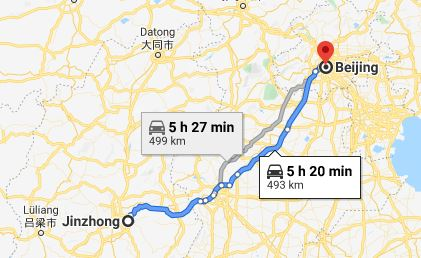 Route map from Jinzhong to the Vietnamese Embassy in Beijing