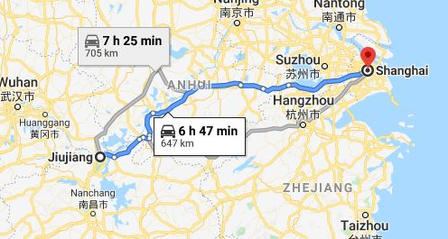 Route map from Jiujiang to the Vietnamese Consulate in Shanghai