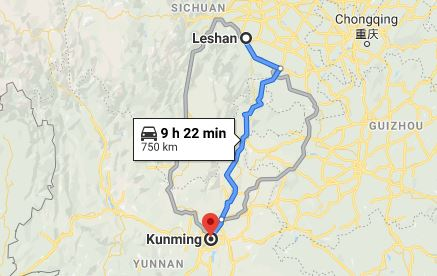 Route map from Leshan to the Vietnamese Consulate in Kunming