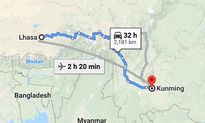 Route map from Lhasa to the Vietnamese Consulate in Kunming