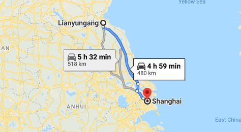 Route map from Lianyungang to the Vietnamese Consulate in Shanghai
