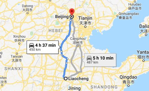 Route map from Liaocheng to the Embassy of Vietnam in Beijing