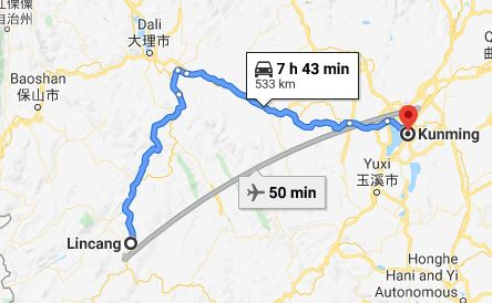 Route map from Lincang to the Vietnamese Consulate in Kunming