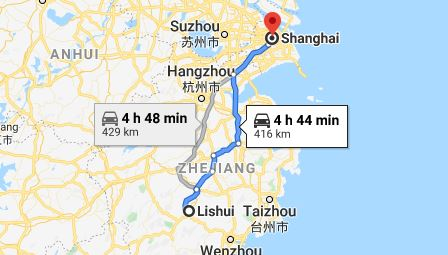 Route map from Lishui to the Vietnamese Consulate in Shanghai