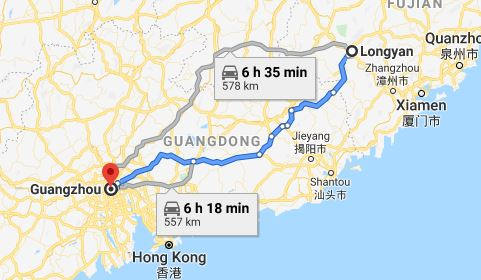 Route map from Longyan to the Consulate of Vietnam in Guangzhou