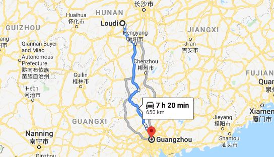 Route map from Loudi to the Consulate of Vietnam in Guangzhou