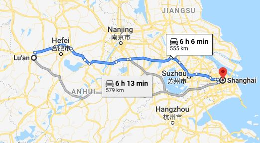 Route map from Lu'an to the Vietnamese Consulate in Shanghai