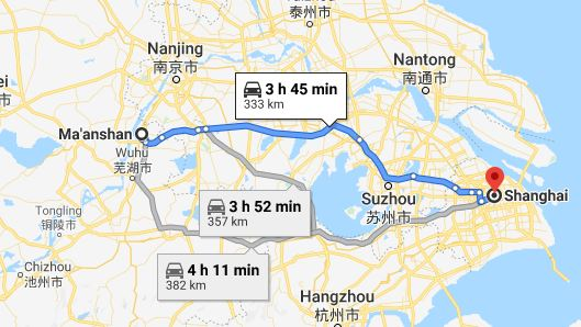 Route map from Ma'anshan to the Vietnamese Consulate in Shanghai