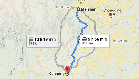 Route map from Meishan to the Vietnamese Consulate in Kunming