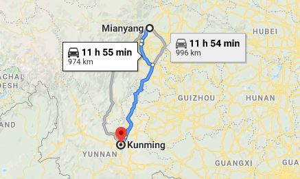 Route map from Mianyang to the Vietnamese Consulate in Kunming
