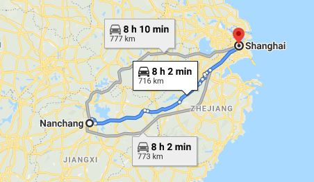 Route map from Nanchang to the Vietnamese Consulate in Shanghai
