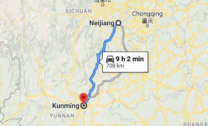 Route map from Neijiang to the Vietnamese Consulate in Kunming