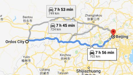 Route map from Ordos City to the Vietnamese Embassy in Beijing
