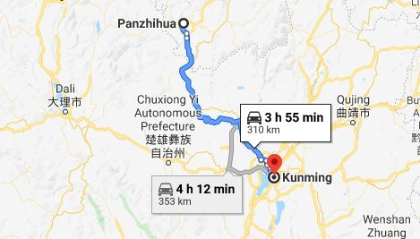 Route map from Panzhihua to the Vietnamese Consulate in Kunming