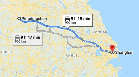 Route map from Pingdingshan to the Vietnamese Consulate in Shanghai