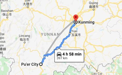 Route map from Pu'er City to the Vietnamese Consulate in Kunming