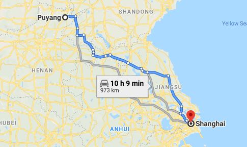 Route map from Puyang to the Vietnamese Consulate in Shanghai