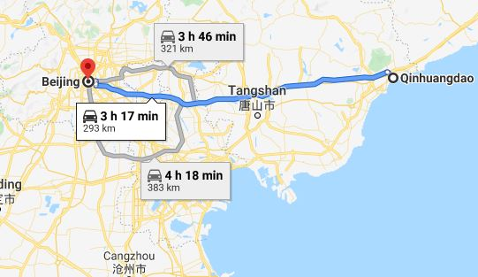 Route map from Qinhuangdao to the Vietnamese Embassy in Beijing