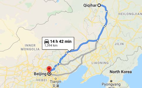 Route map from Qiqihar to the Vietnamese Embassy in Beijing