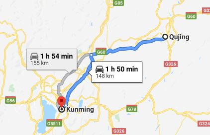 Route map from Qujing to the Vietnamese Consulate in Kunming