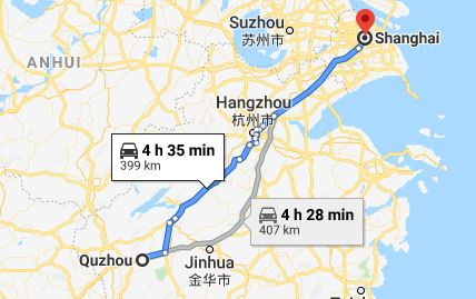 Route map from Quzhou to the Vietnamese Consulate in Shanghai