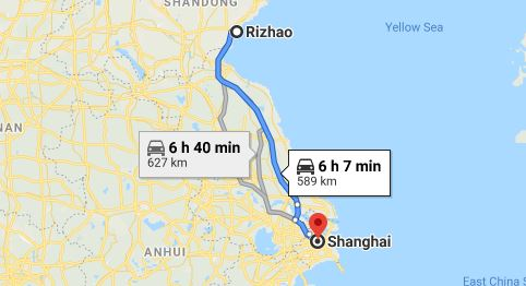 Route map from Rizhao to the Vietnamese Consulate in Shanghai