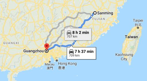 Route map from Sanming to the Consulate of Vietnam in Guangzhou
