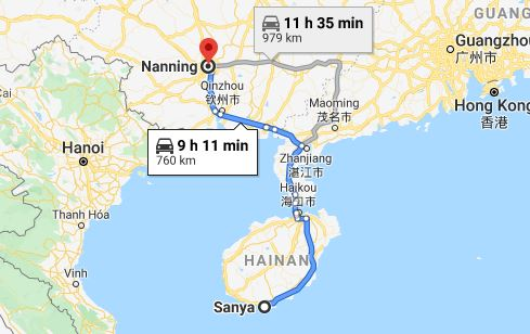 Route map from Sanya to the Vietnamese Consulate in Nanning