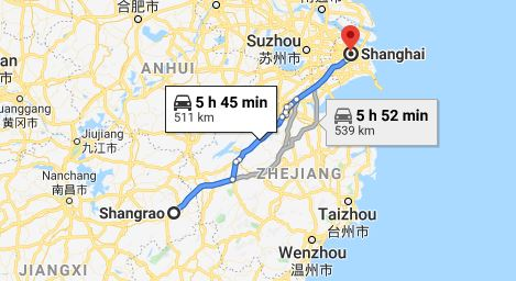 Route map from Shangrao to the Vietnamese Consulate in Shanghai