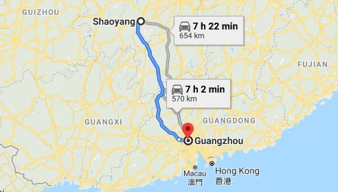 Route map from Shaoyang to the Consulate of Vietnam in Guangzhou