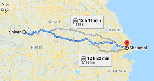 Route map from Shiyan to the Vietnamese Consulate in Shanghai
