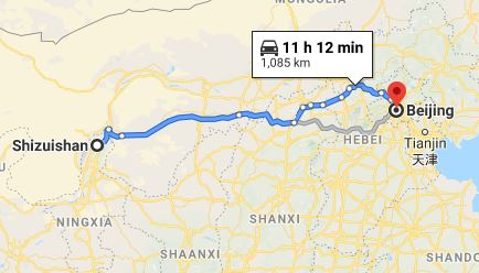 Route map from Shizuishan to the Vietnamese Embassy in Beijing
