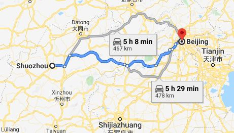 Route map from Shuozhou to the Vietnamese Embassy in Beijing